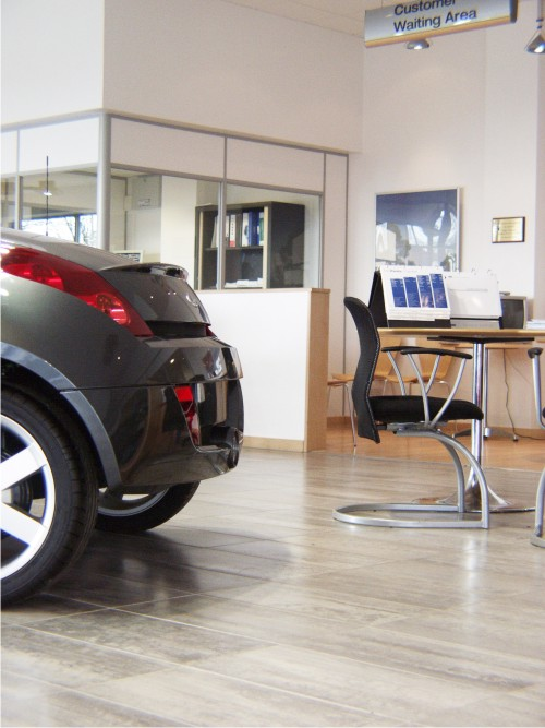 Furniture to match car showroom branding