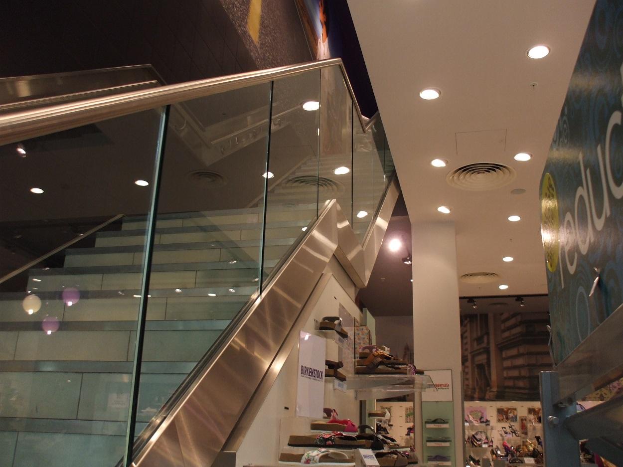 Glass and aluminium ballustrade