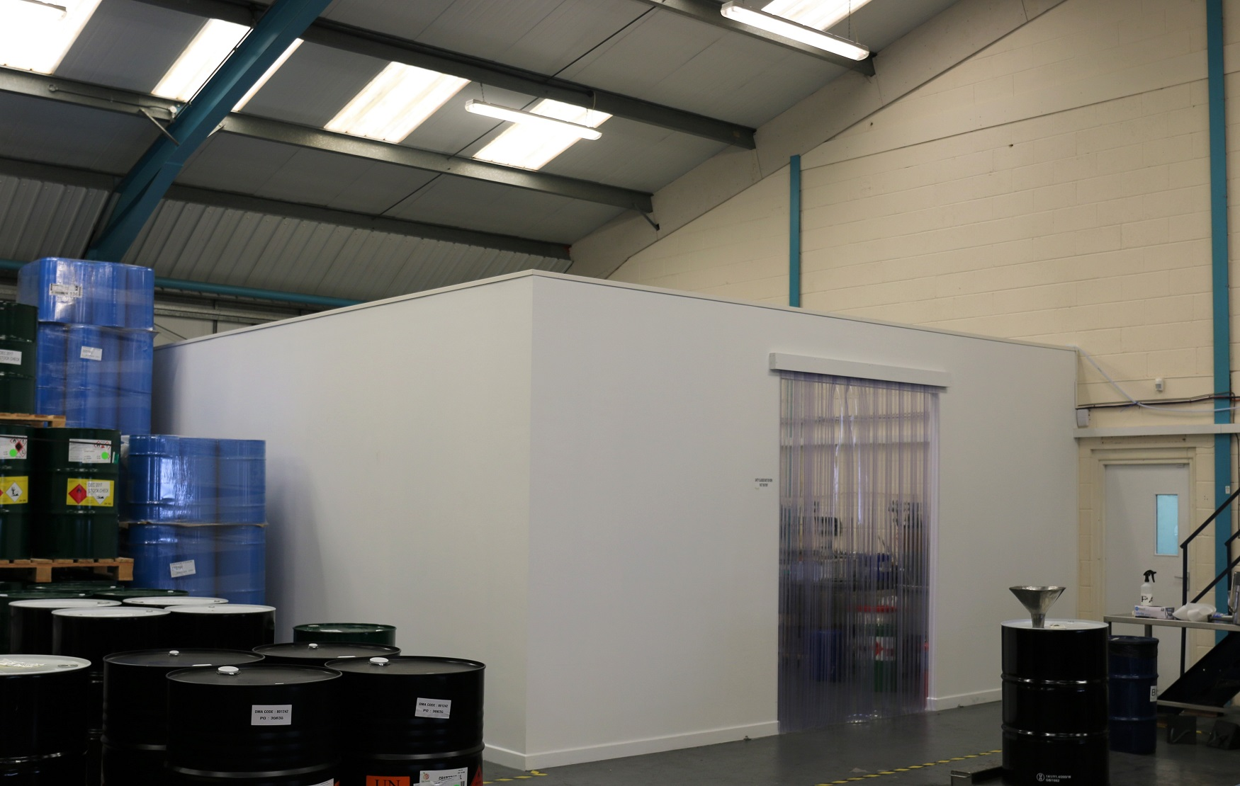 Self contained laboratory partitioned from warehouse