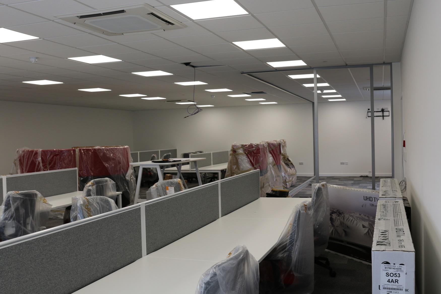 New open plan office workspace