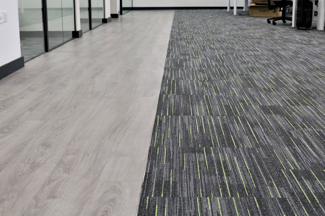 Use of flooring separate office areas