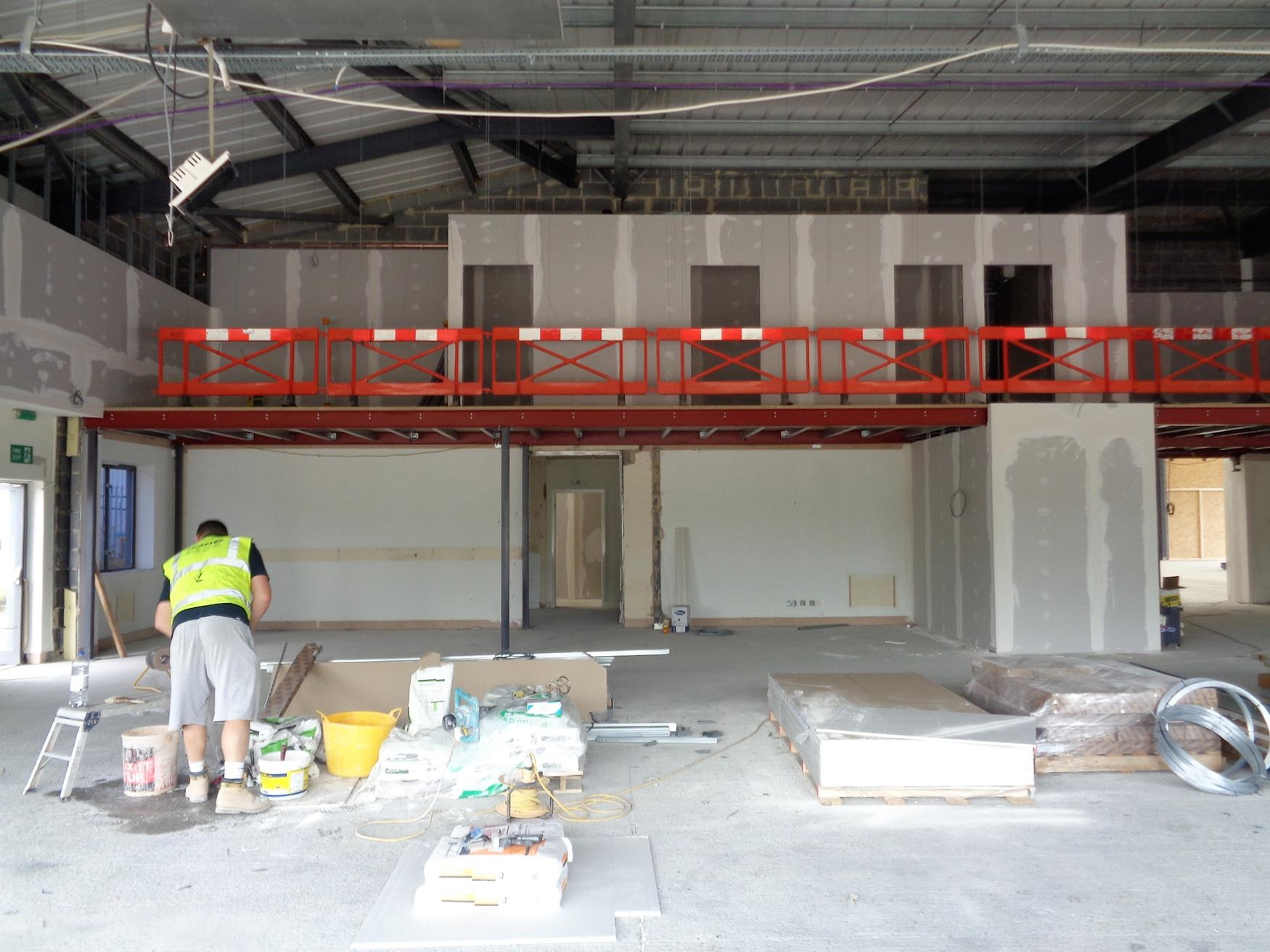 Addition of offices on mezzanine level