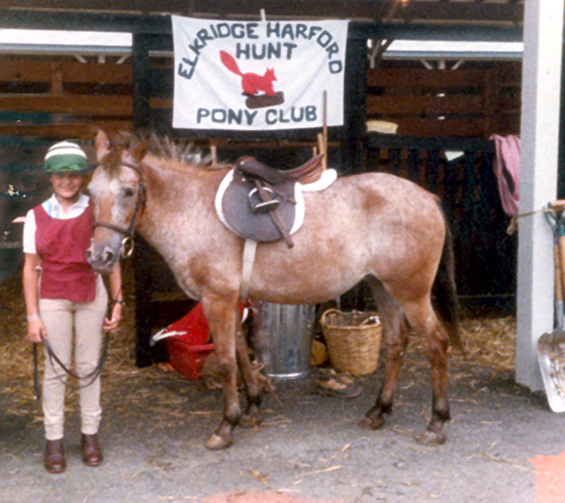 Phoebe and her pony Chee-Chee at Nationals 1983