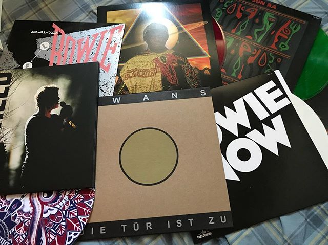 Record Store Day Haul. Not pictured - free Johnny Cash record that came with the mat.  #recordstoreday #recordstoreday2018 #swans #bowie #davidbowie #music #vinyl #sunra #jazz #arkestra #pabstblueribbon