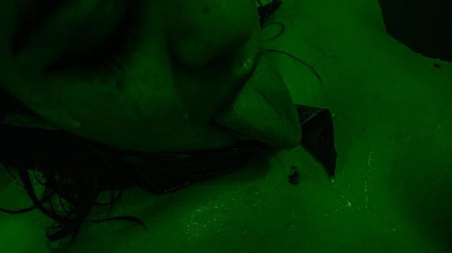 """""""I caught you by the throat/And tried to squeeze/But you weren't real""""  #dillingerescapeplan #onofusisthekiller #corssburner #choking #music #lyrics #ewigeblumenkraft #fnord #duhexenhase #tongue #mouth #green #gag #tape #latextape #wet #water #bath #skin #spit #bdsmcommunity #goodgirl #nude #photography #fetishmodel #eyeliner #toronto #torontophotography #moody #dripping"""