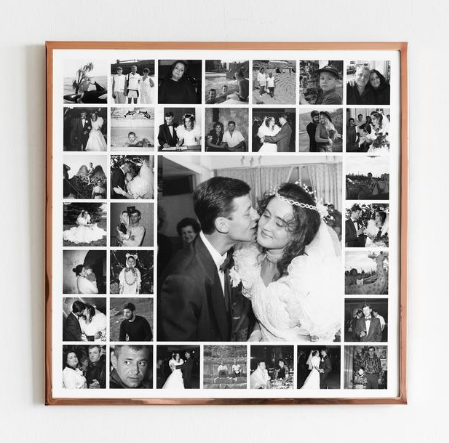 Seventy-Fifth Wedding Anniversary Gift, Diamonds and Gold, Custom Photo Collage: Etsy