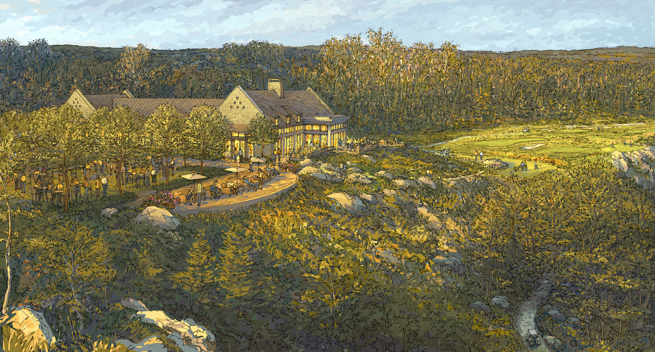 Rendering of the cliffside McLemore Clubhouse overlooking the 18th hole, the 6-hole Short Course, and McLemore Cove.