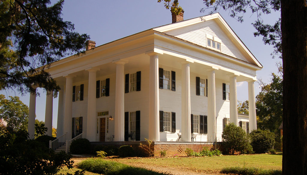 Barrington Hall   535 Barrington Drive, Roswell, 30075 770-640-3855  Barrington King, co-founder of Roswell, built Barrington Hall on the highest point in Roswell. Built in the Greek Revival style and listed on the National Register of Historic Homes, it was completed in 1842 and has been restored as close to its original form as possible. Craftsmen skilled in the lost art of plastering restored the horsehair plaster walls throughout the house, cracked and severely damaged by fire and water. The original heart pine floors and walnut doors have been refinished and many of the faux painted doors have also been restored.  Hours: Monday-Saturday, 10:00 am-3:00 pm Sunday 1:00-3:00  Please arrive at least 15 minutes early.  Maximum of 20 people with no additional tickets available.  Accessible to wheelchair users on main floor only. This is a walking tour, no seating available.  Minimum two weeks notice with advance cancellation an absolute must.