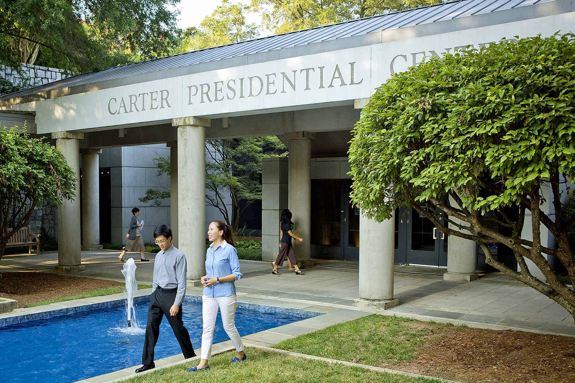 Carter Center Presidential Library and Museum   441 Freedom Parkway, Atlanta 404-420-5100  Highlights of the Carter Center Presidential Library and Museum include a 30-minute film about the presidency, children's exhibits, a life-size replica of the Oval office, Jimmy Carter's presidential documents, memorabilia, and touch-sensory video screens with questions visitors can ask the former president. Special exhibits available as well.  ALL TOURS ARE SELF-GUIDED.  Hours: Monday-Saturday 9:00 am - 4:00 pm Sunday 12:00 pm - 4:00 pm  Maximum of 50.