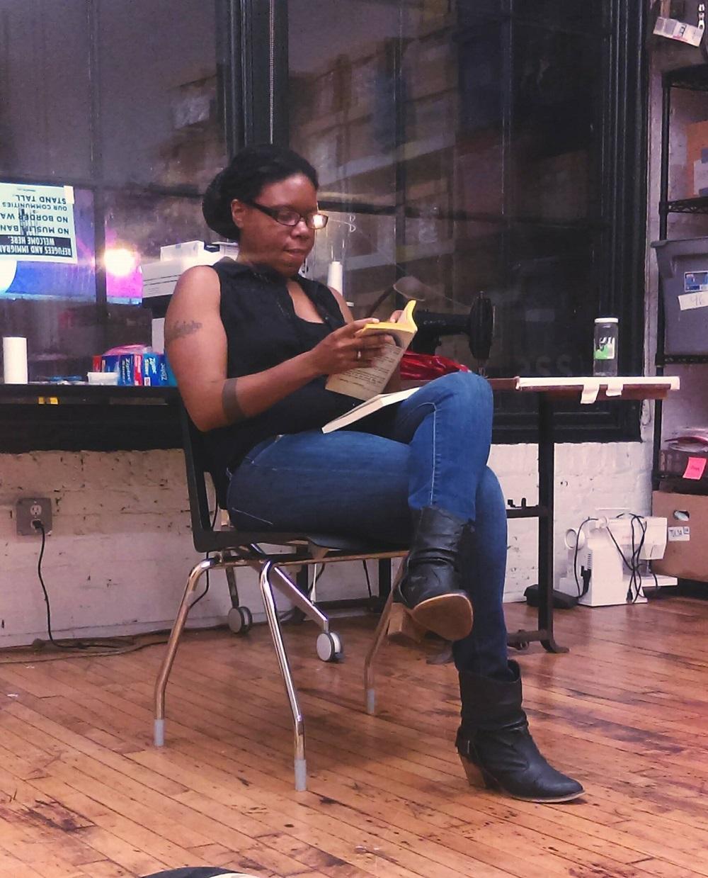 A reading session of artist/author/journalist/activist/icon Jordannah Elizabeth; press photo courtesy of Publik / Private.