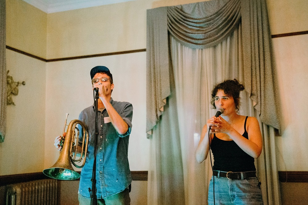 From left; Matt Norman & Lily Konigsberg of Lily & Horn Horse; press photo courtesy of Ana-Miren San Millan at the No Theme festival in Poughkeepsie, NY.