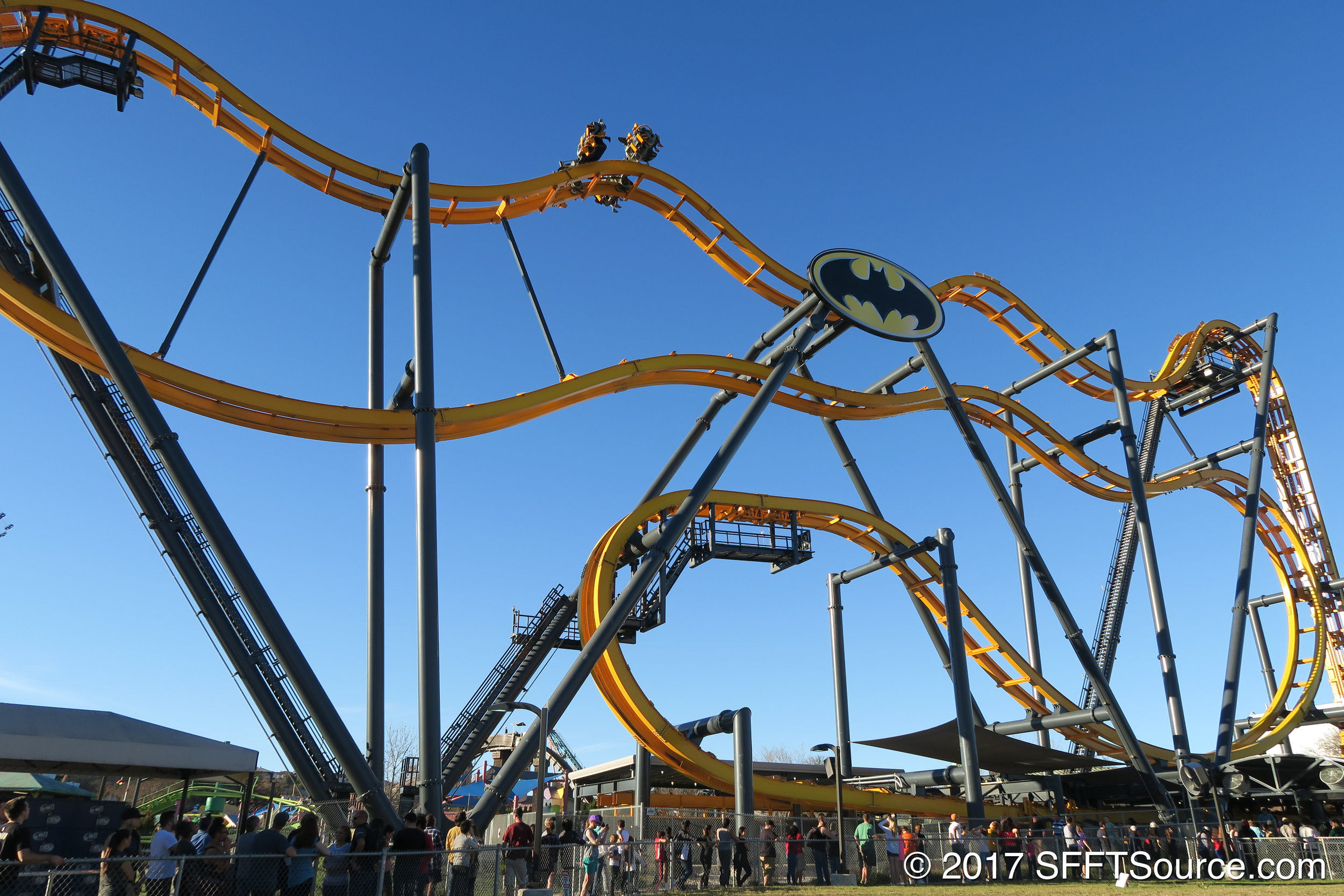 An overall look at Batman: The Ride.