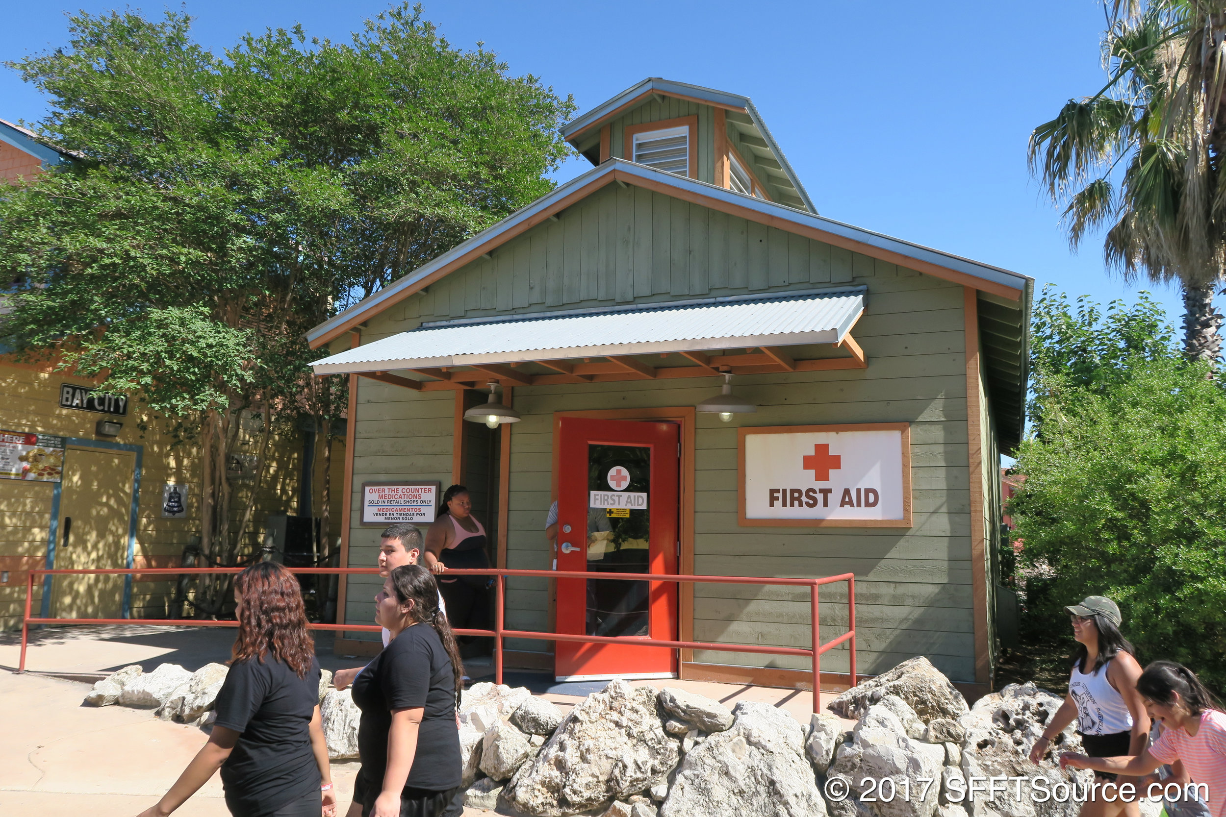 A First Aid location is available in White Water Bay.