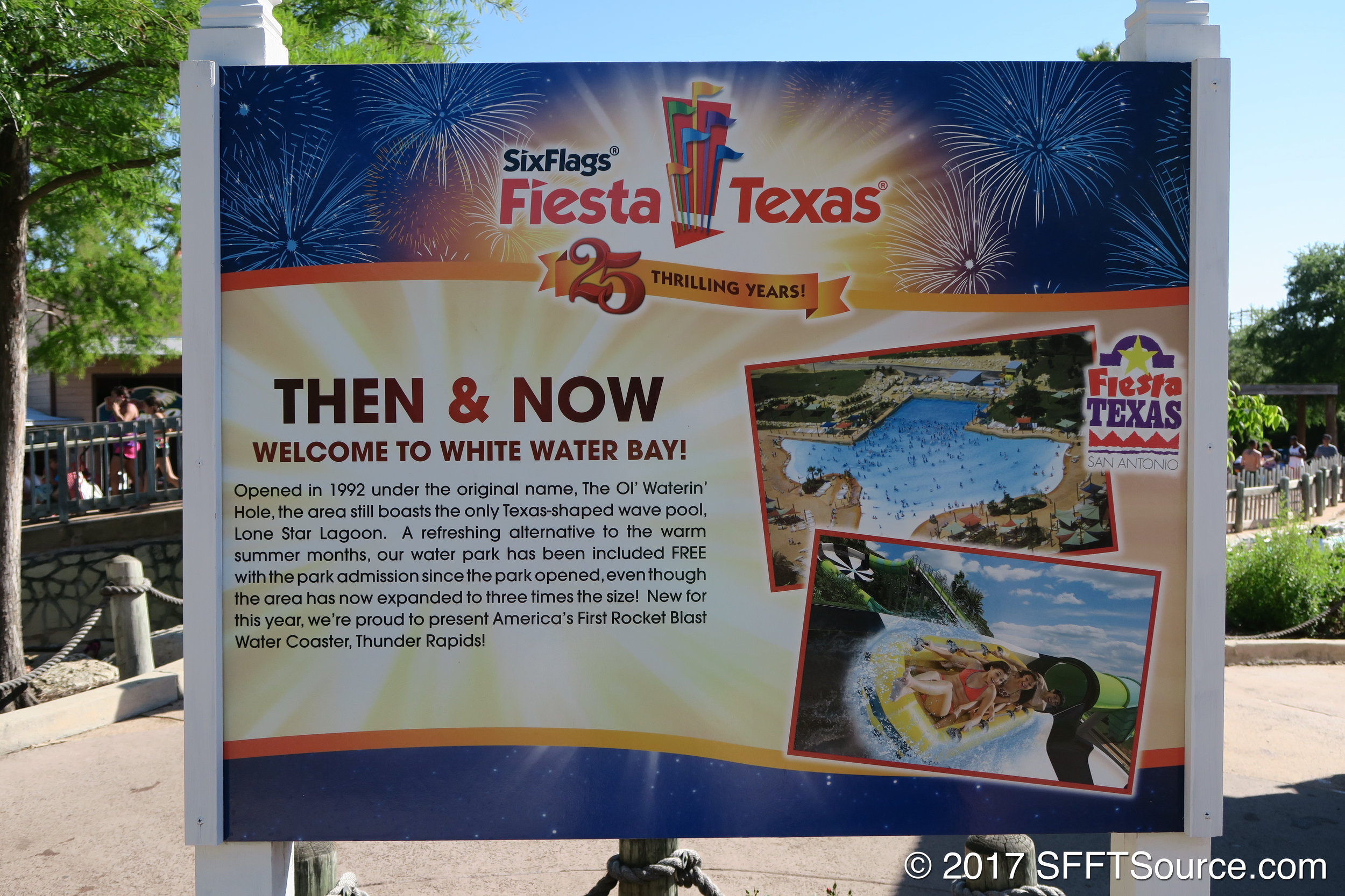 A history sign in White Water Bay during the park's 25th anniversary in 2017.