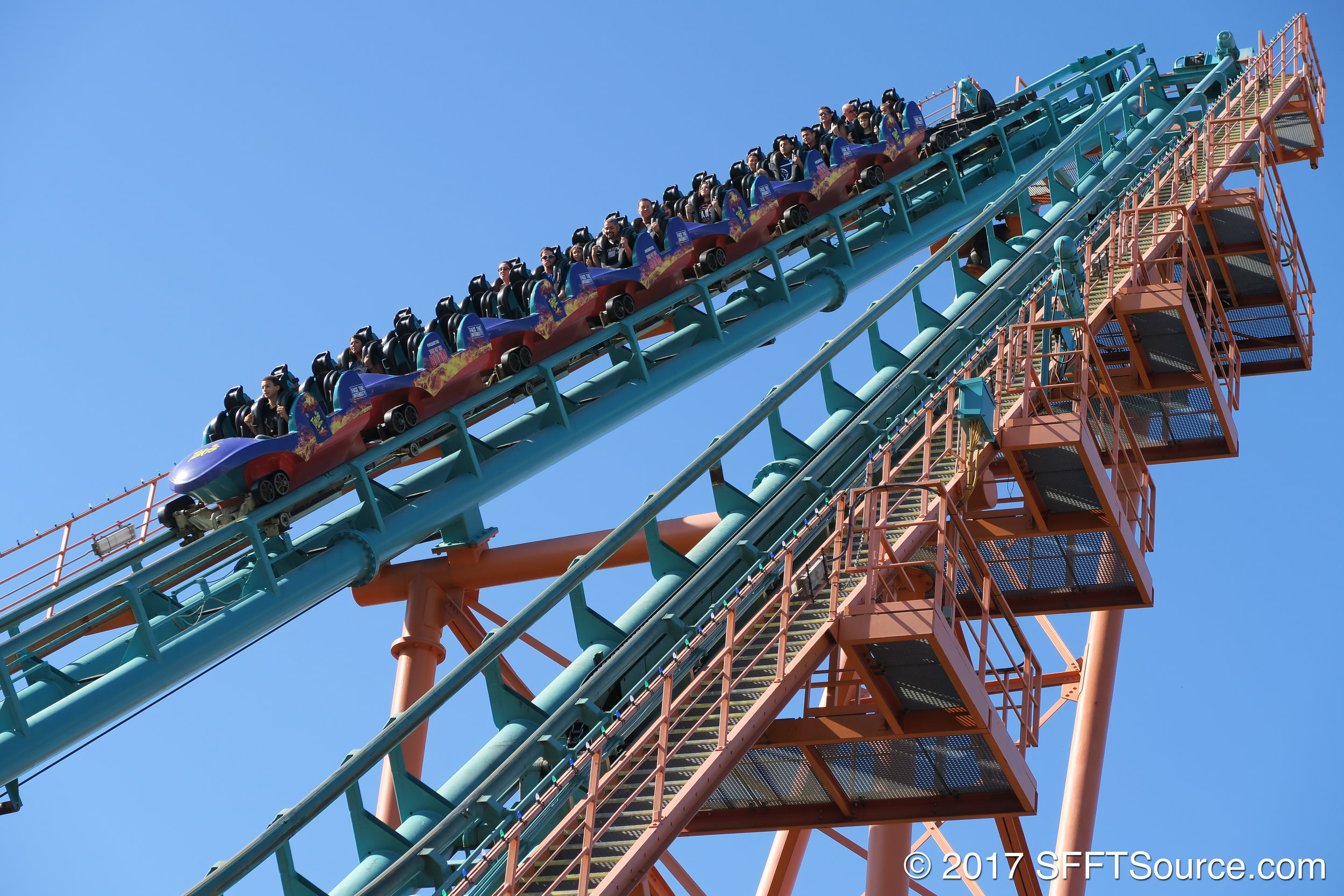 Guests begin the ride by being pulled backwards up the first lift.