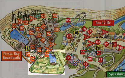 A past park map showing off the former location of Seaside Golf.