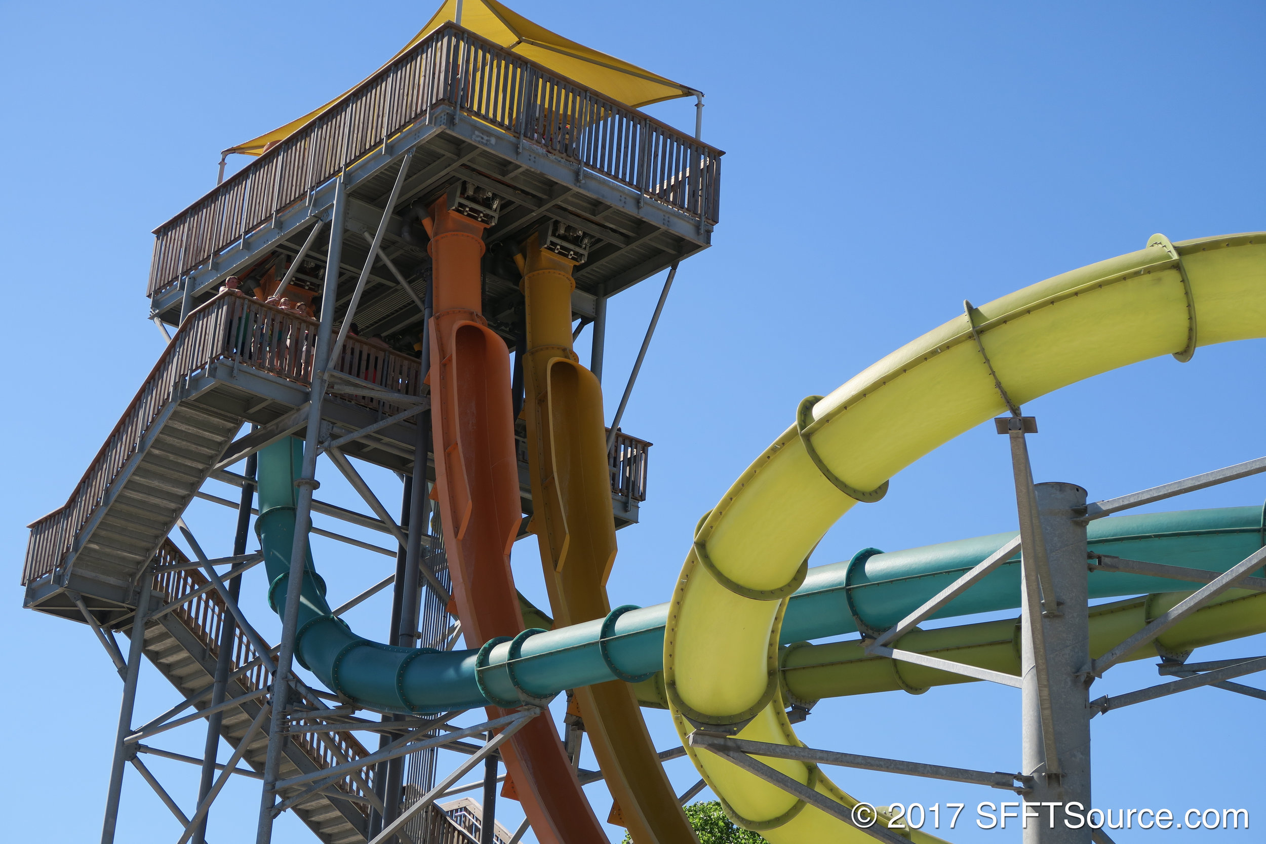 Two slides begin in capsules in which the floor drops out.
