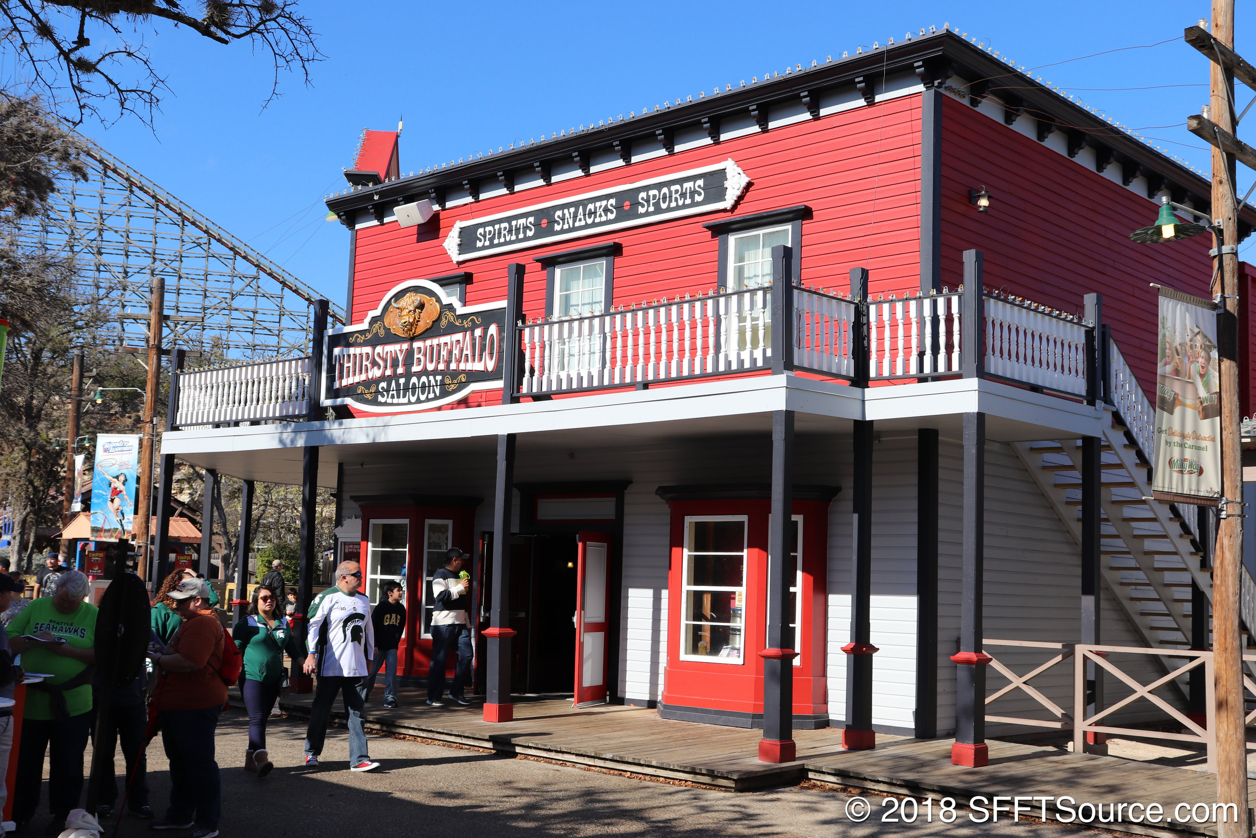 The exterior of Thirsty Buffalo Saloon.