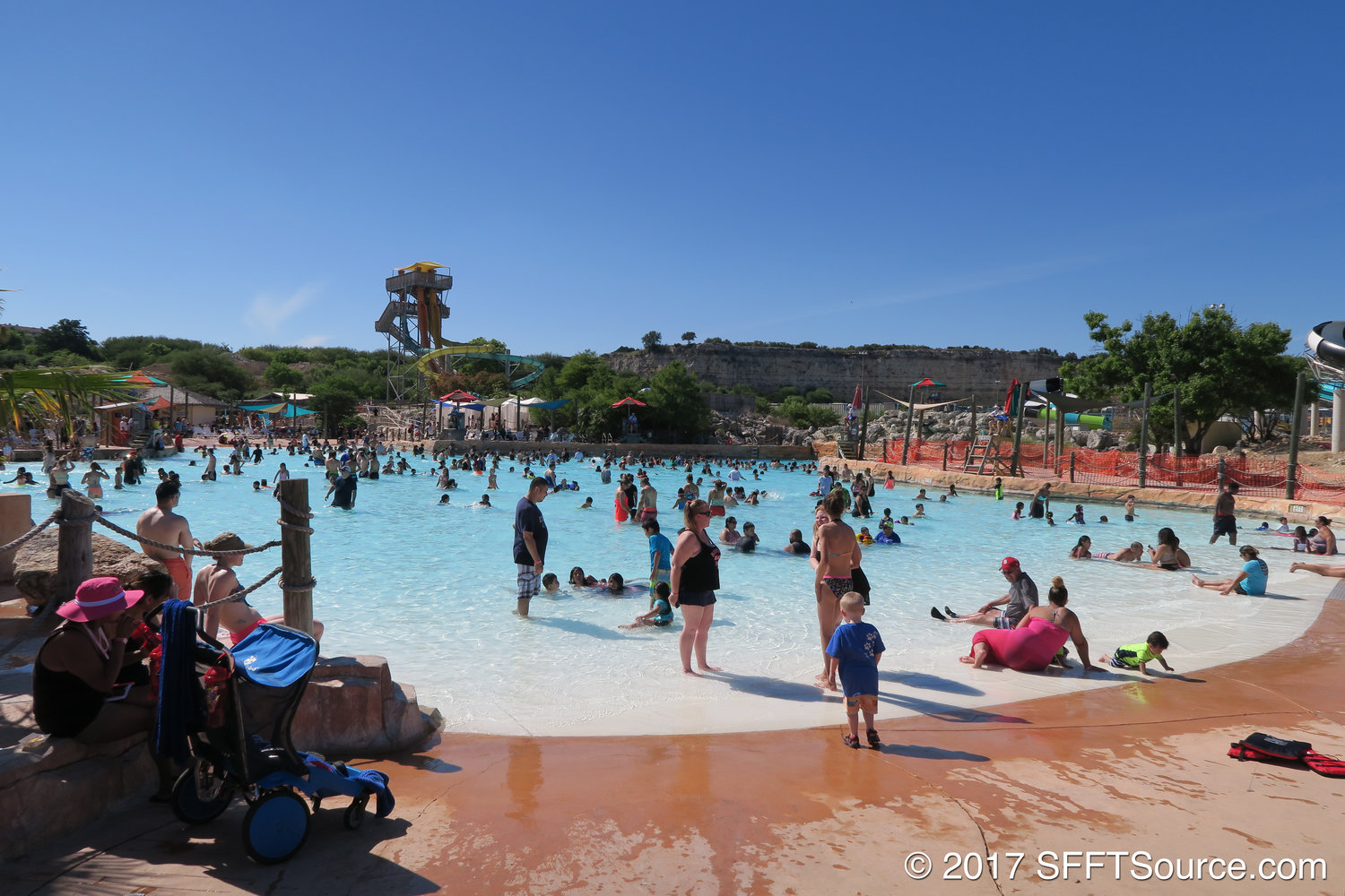 Lone Star Lagoon is the park's Texas-shaped wave pool.