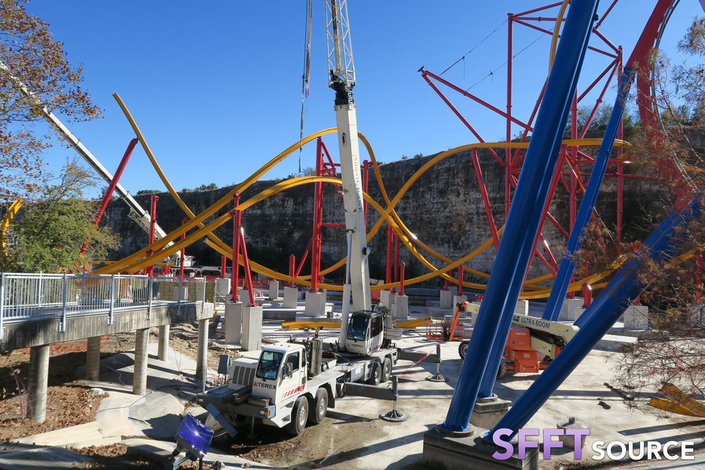 A look at Wonder Woman Golden Lasso Coaster during construction.