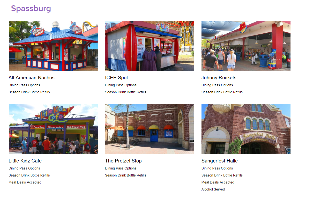 The Dining page features a quick listing of all restaurants and food stands at Fiesta Texas.