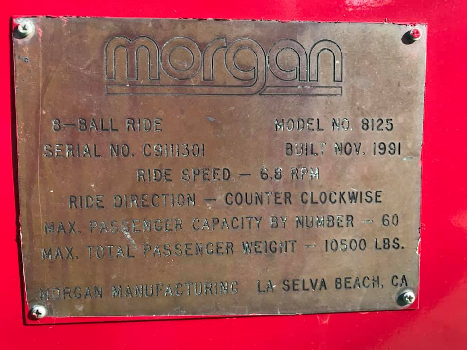 A plaque located at the ride showing off manufacturer and ride information. Credit: Fiesta Texas