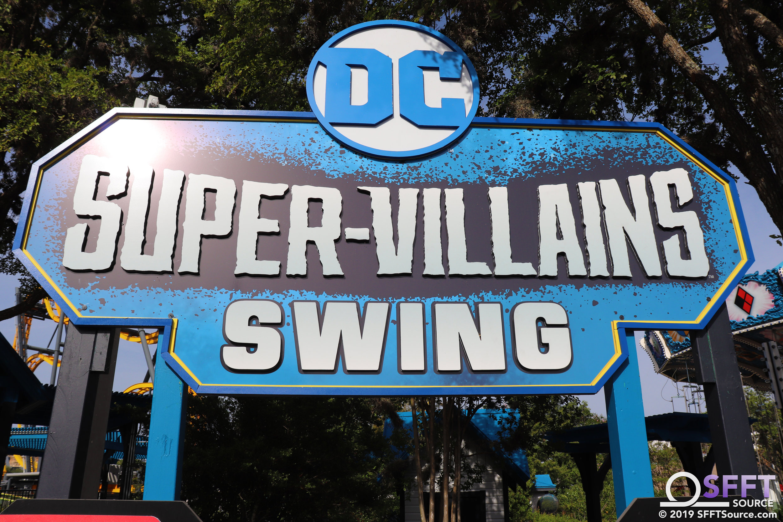 The main entrance to DC Super-Villains Swing.