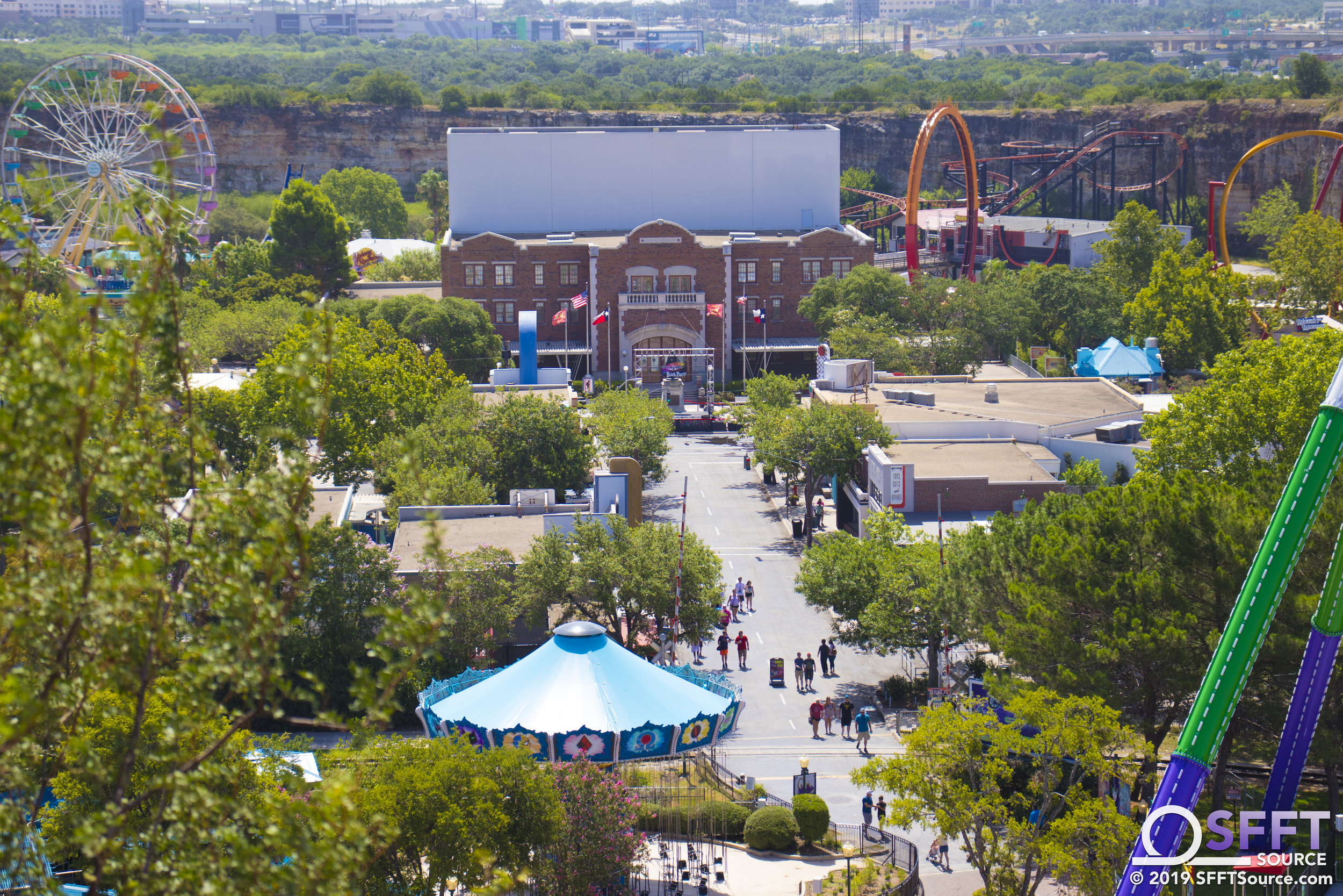 An aerial view of DC Universe as it leads up to the park's Rockville section.