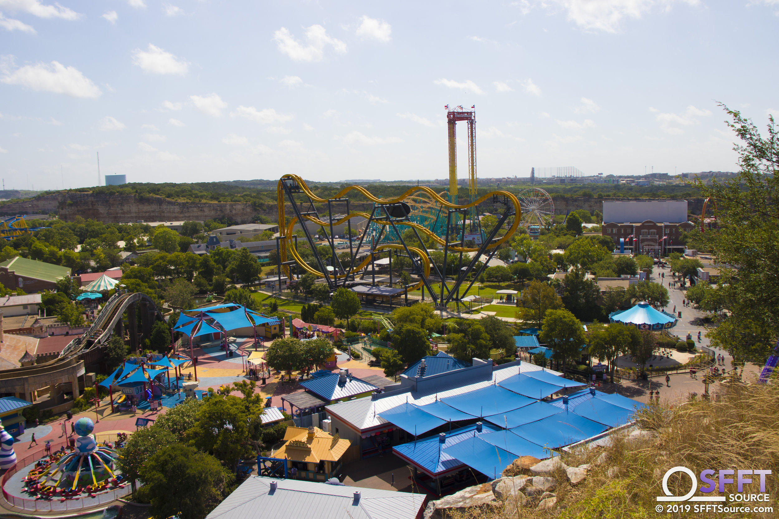 An aerial view of Kidzopolis from the park's quarry wall.