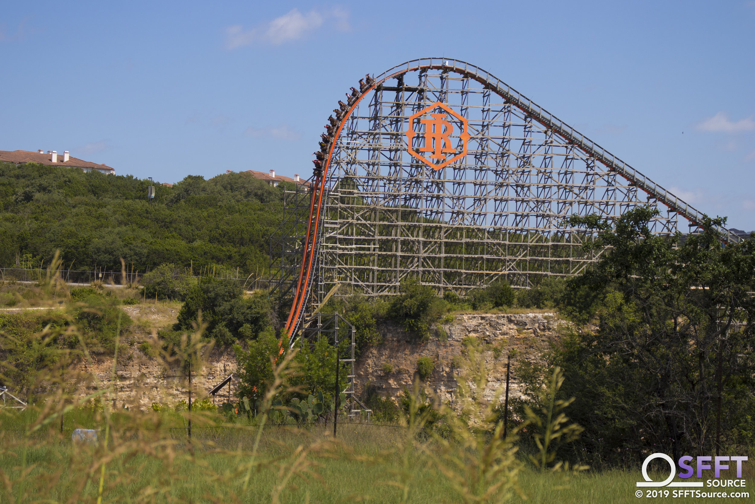 Iron Rattler as seen atop the park's quarry wall.