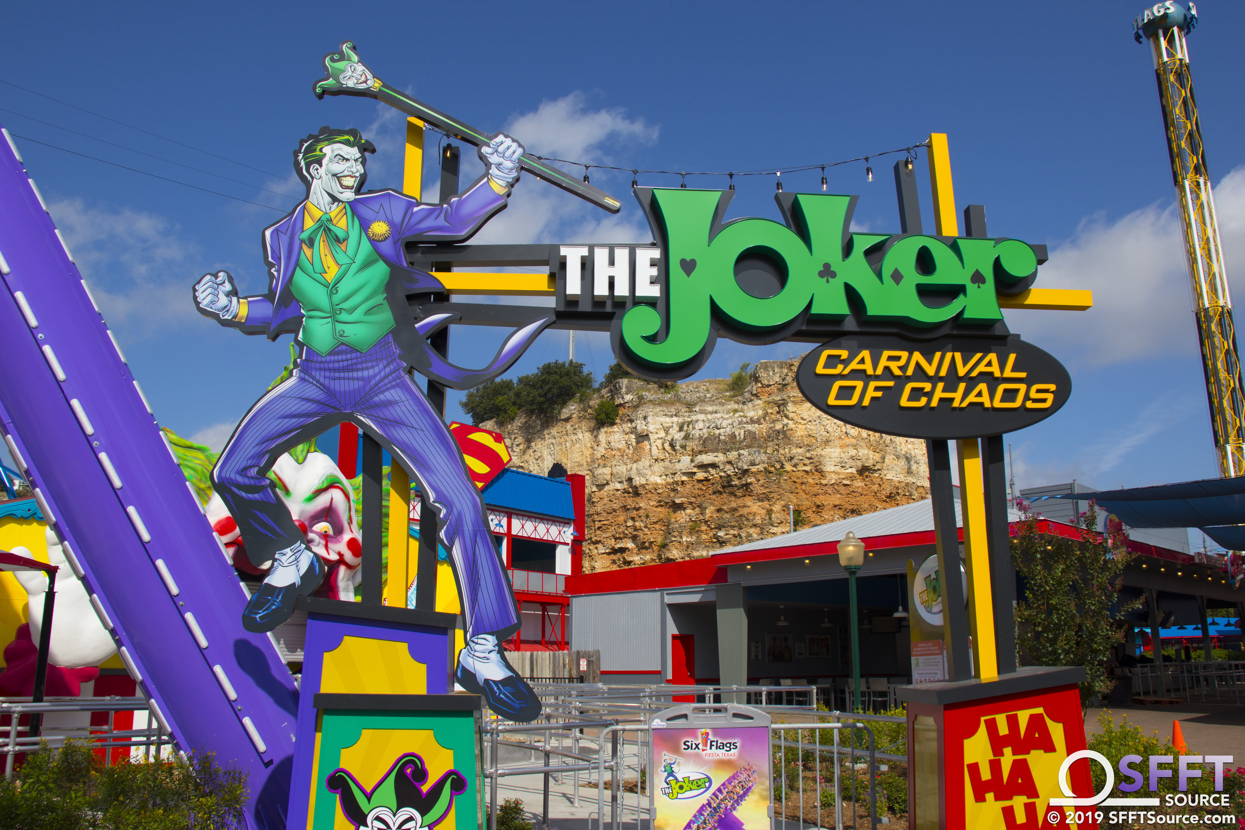 The main entrance to The Joker Carnival of Chaos.