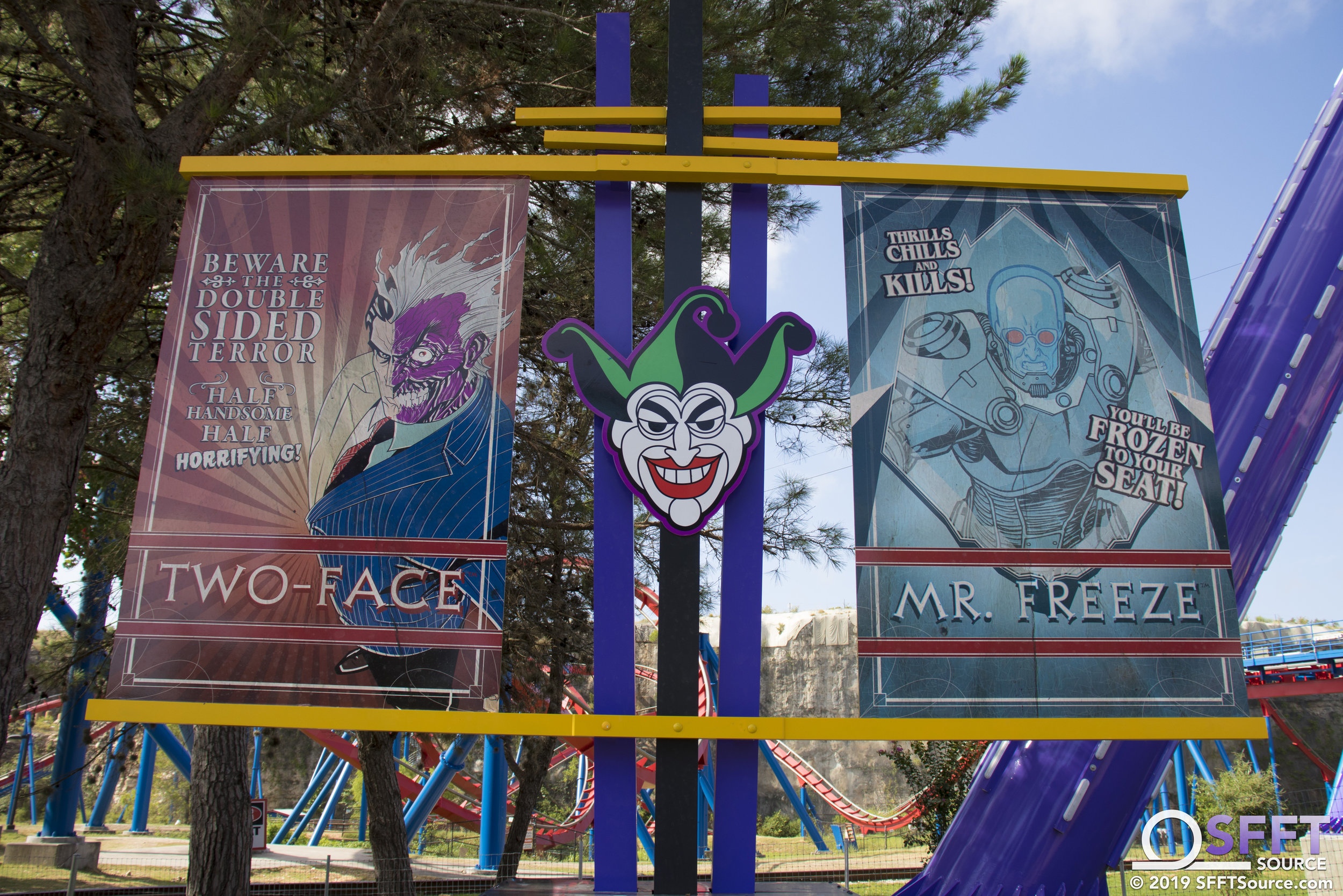 DC villain banners line the perimeter of The Joker Carnival of Chaos.