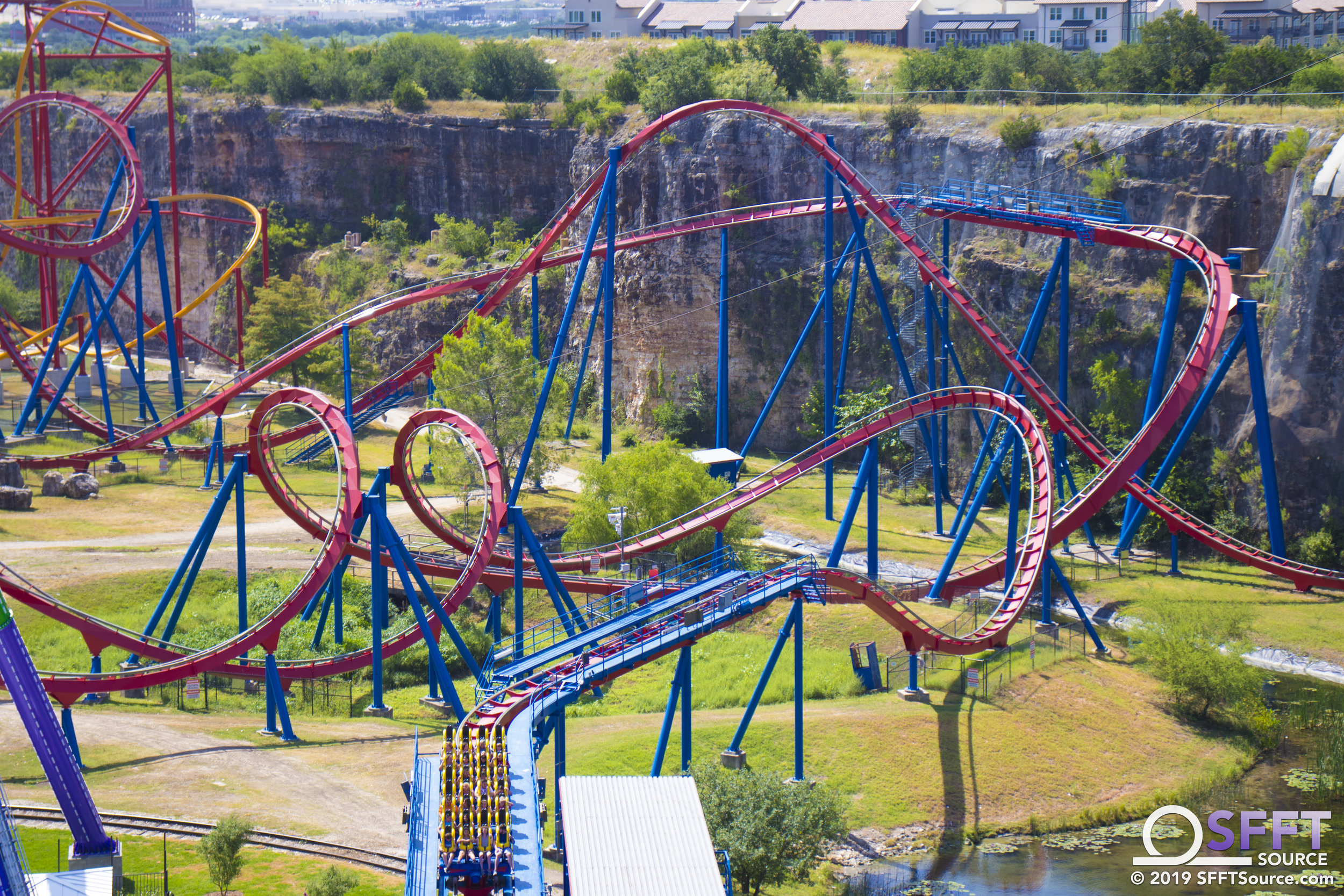 A view of Superman Krypton Coaster from the park's quarry wall.