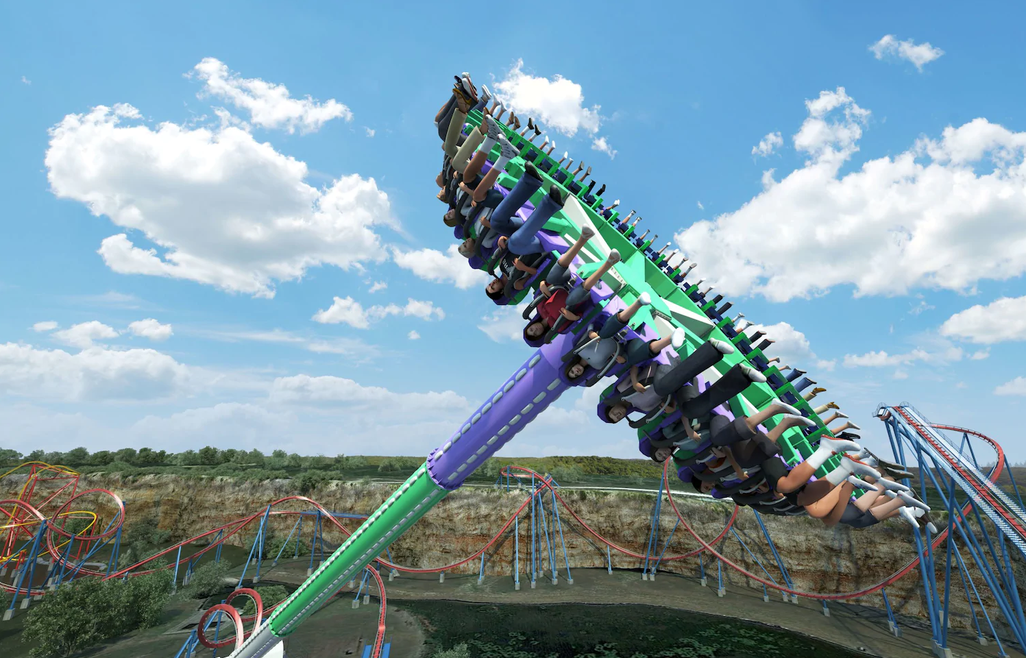 The Joker Carnival of Chaos reaches speeds of 75 miles per hour.