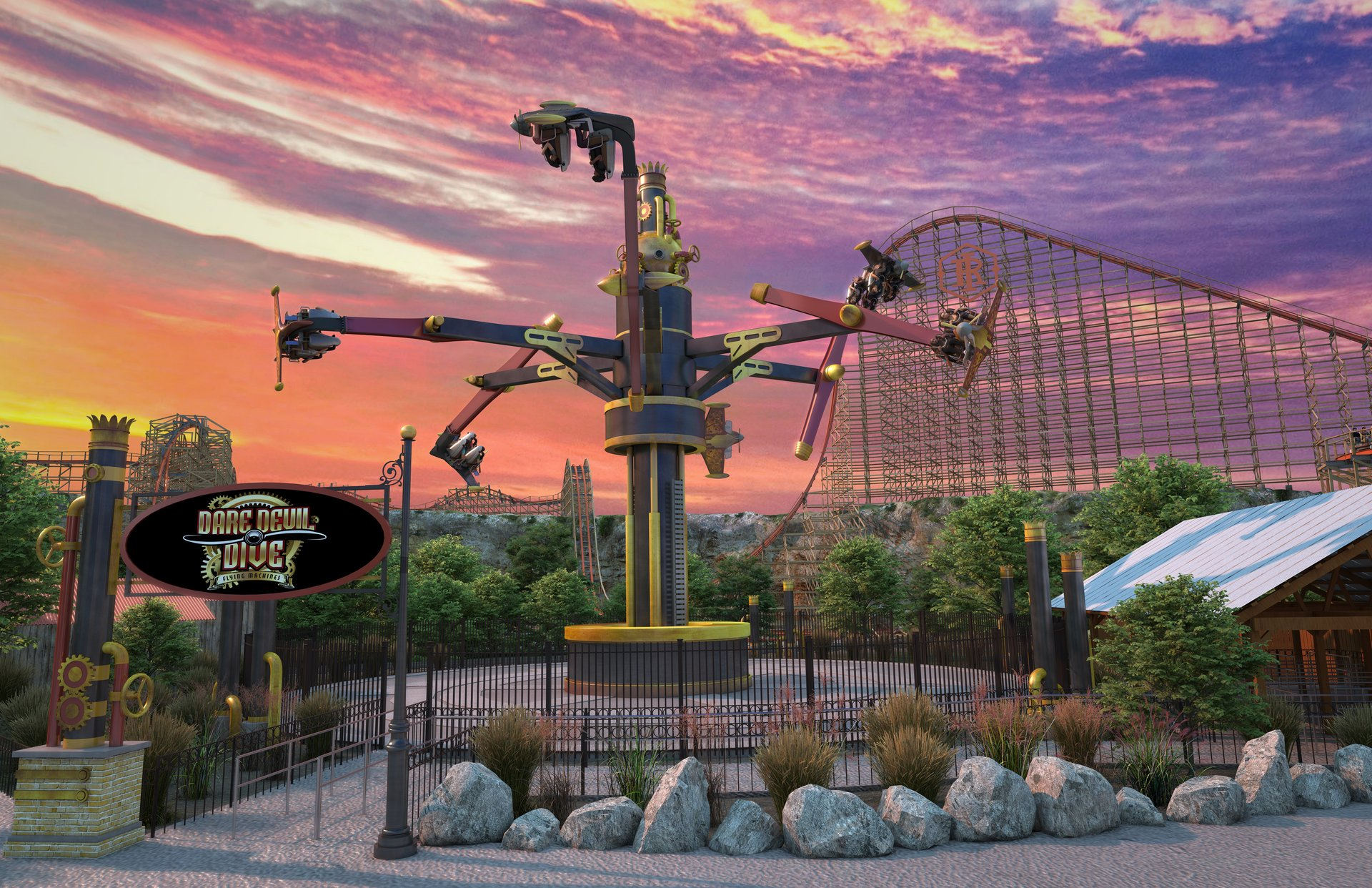 Dare Devil Dive Flying Machines will be located in the park's Crackaxle Canyon section.