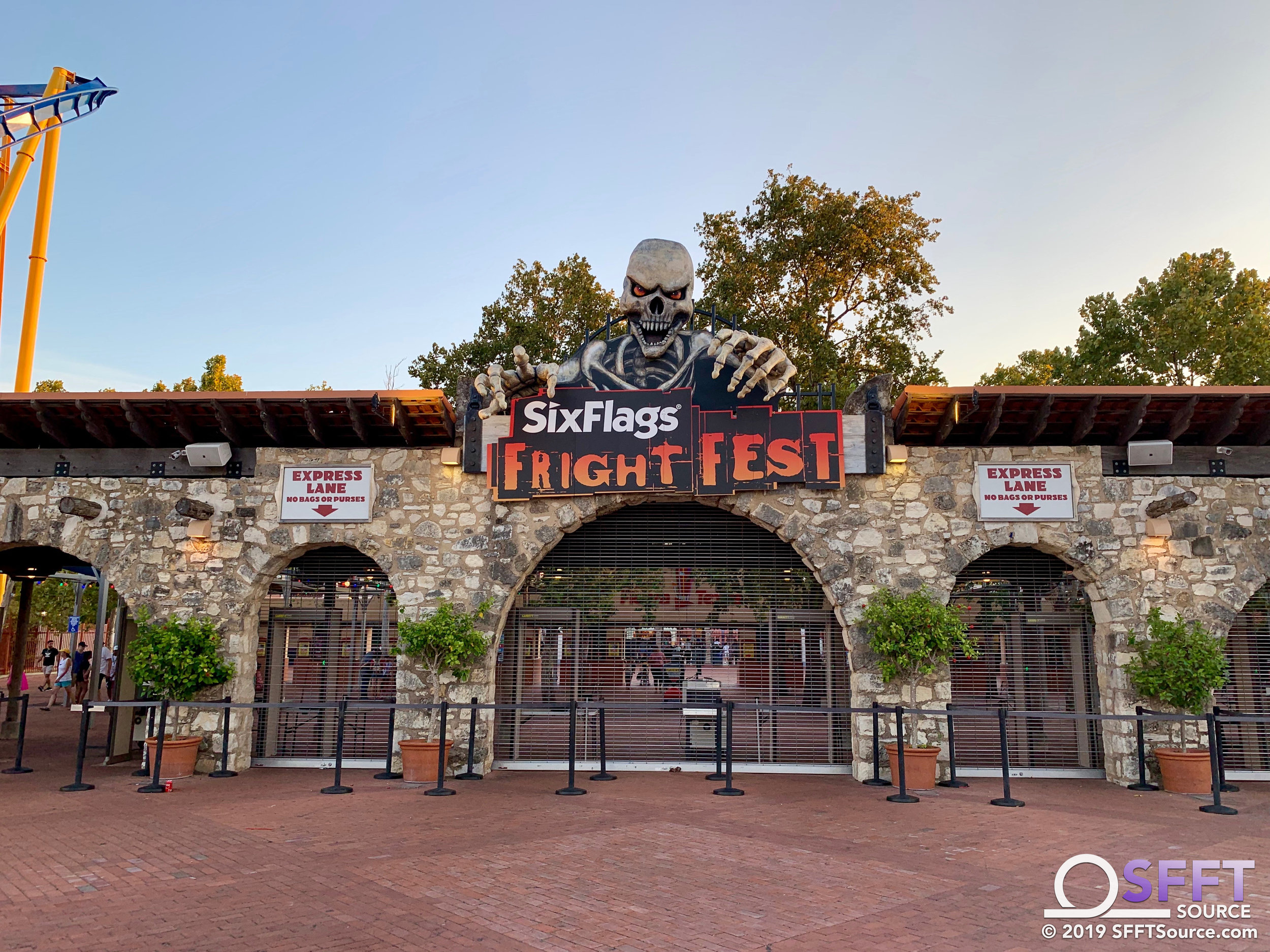 Fright Fest signage has returned to the park's main entrance.