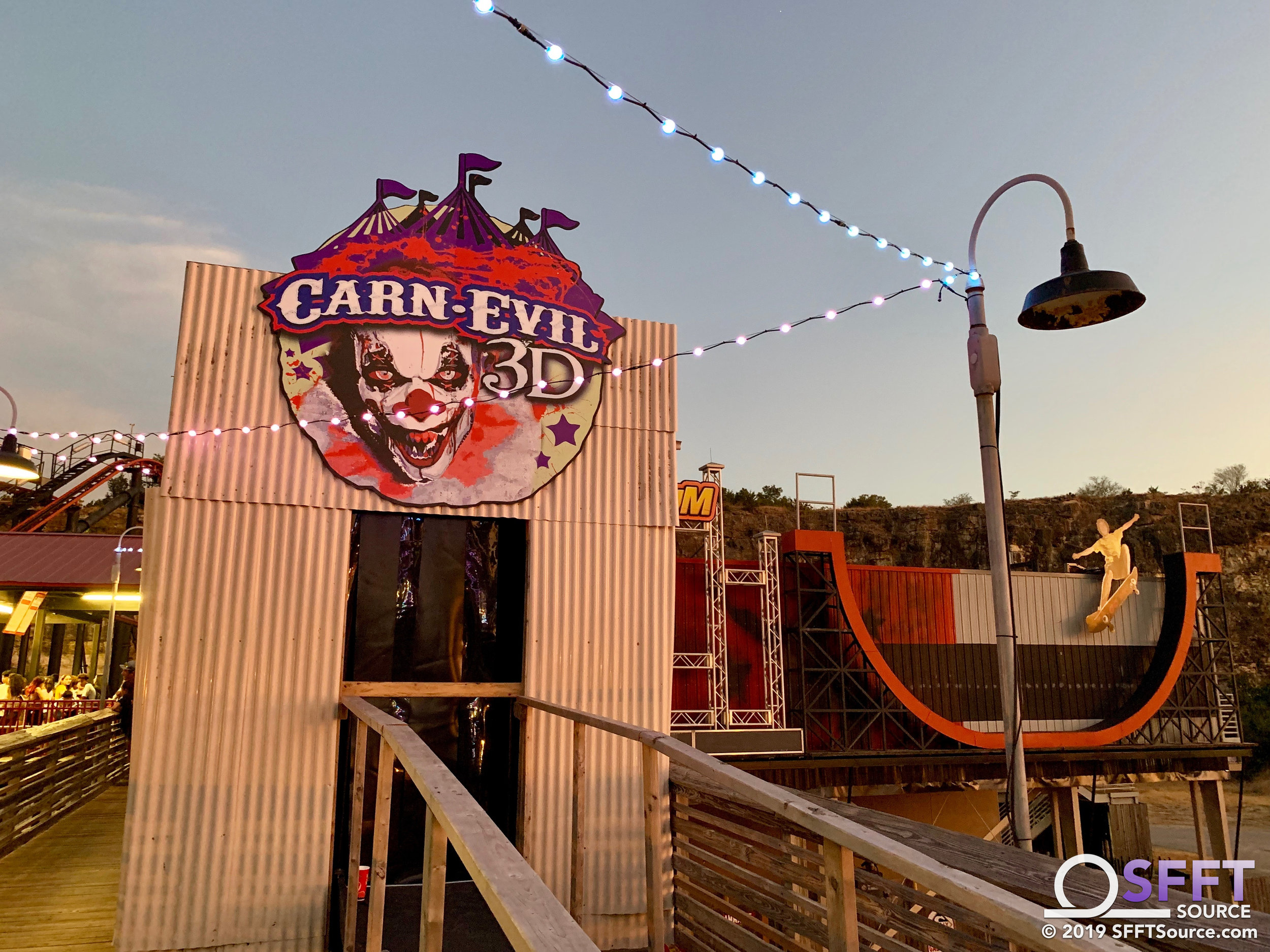 The main entrance to the CarnEvil 3D house has been constructed on Fiesta Bay Boardwalk.