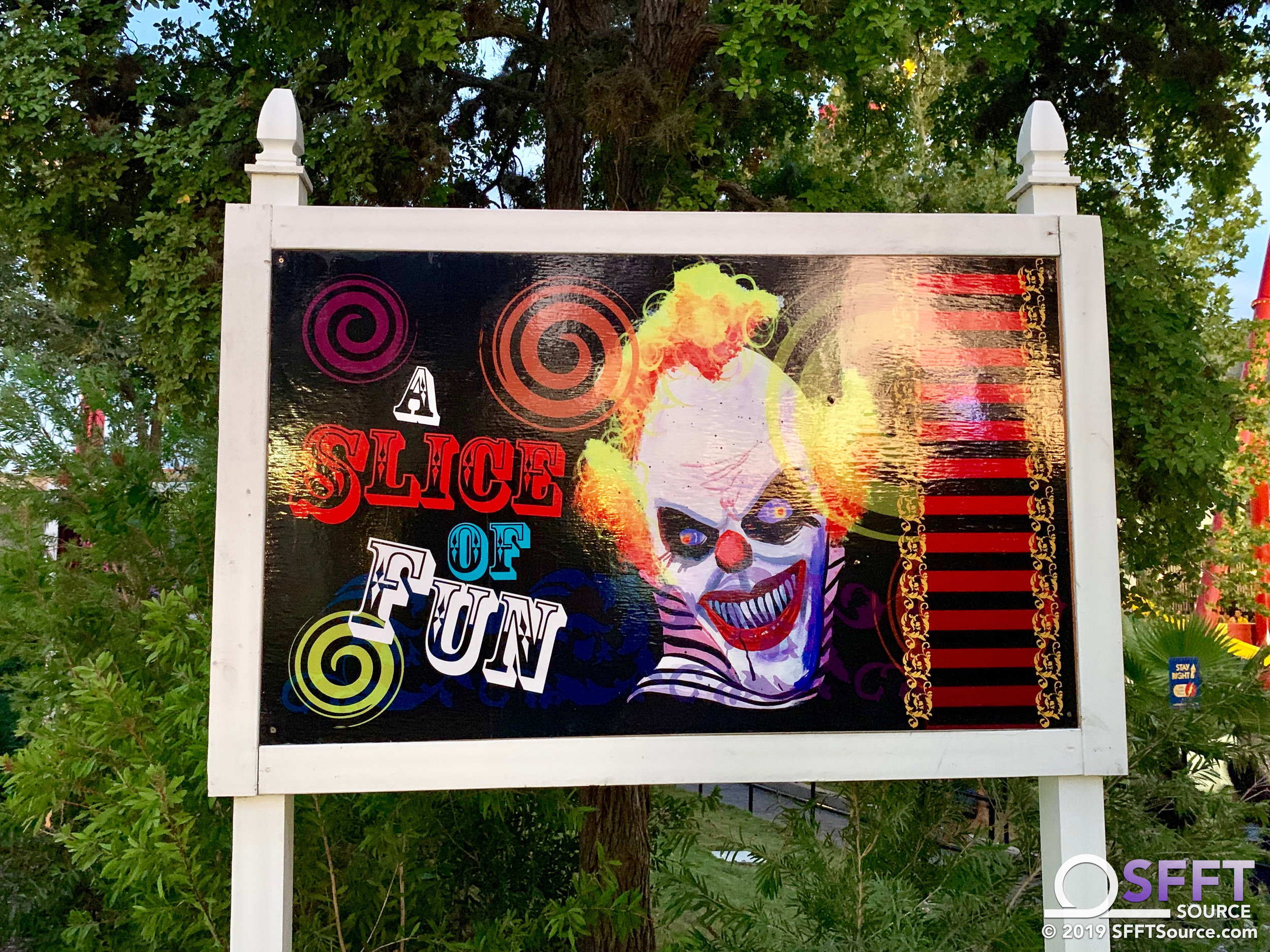 Props for the Circus Berzerkus scare zone have been installed.