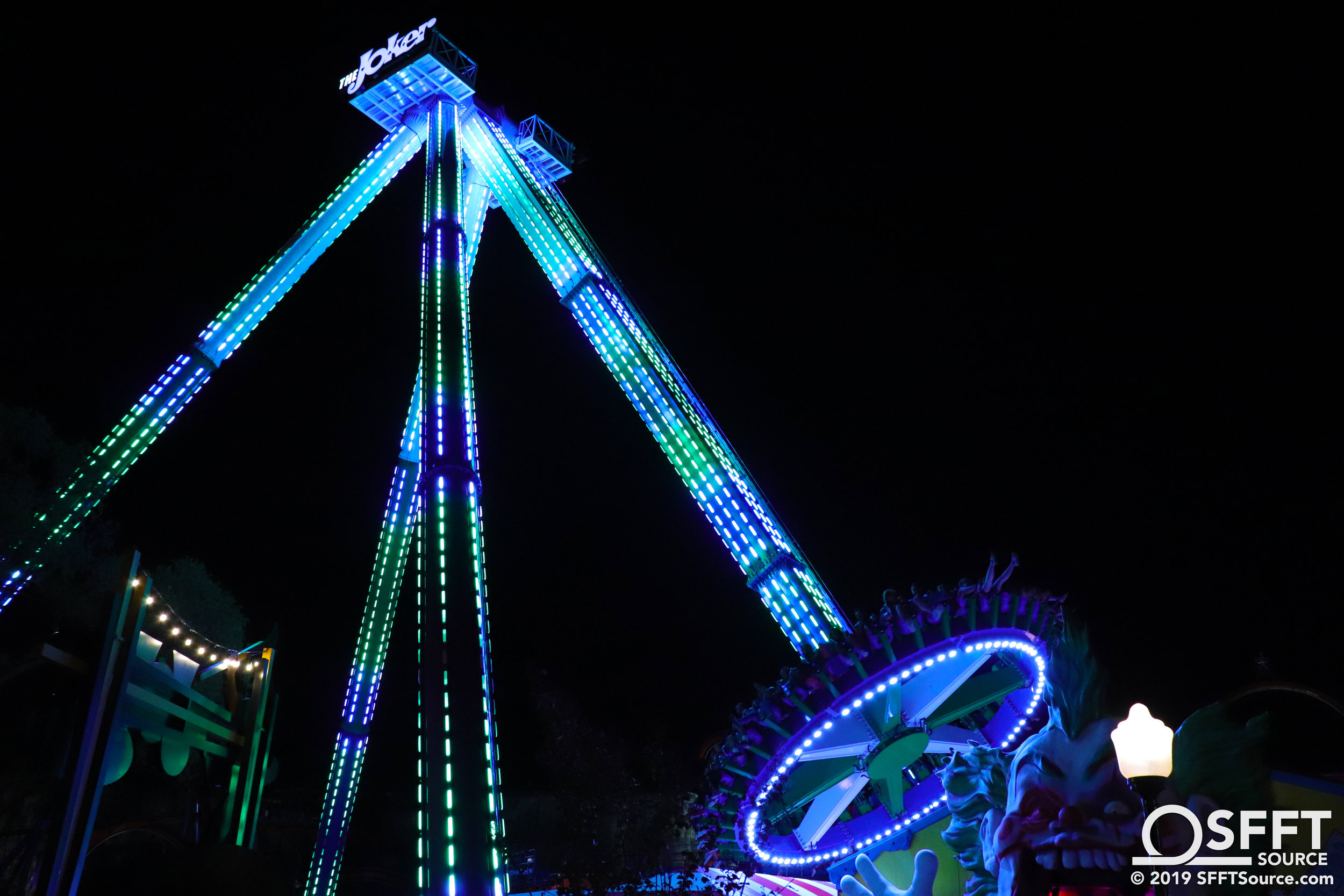 The Joker Carnival of Chaos features an impressive nighttime LED lighting package.