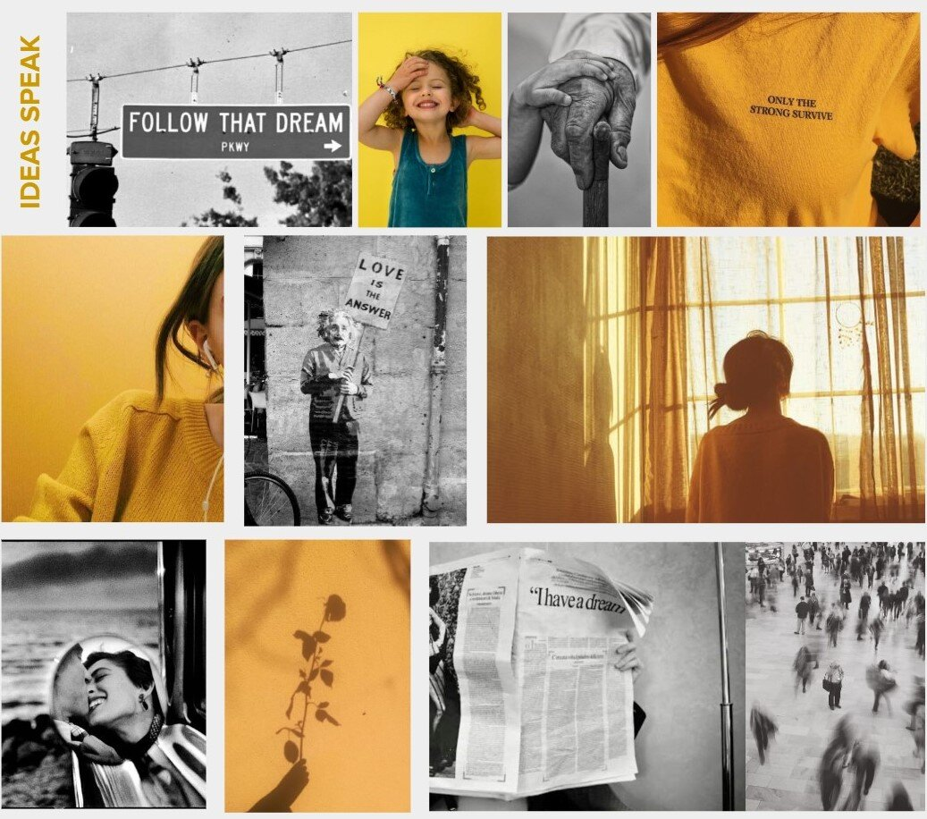Questions to ask yourself:  What do I want these images to convey? How do we want to make people feel? Should the organization's tone be professional or playful? Bright and bold or faded and minimal?