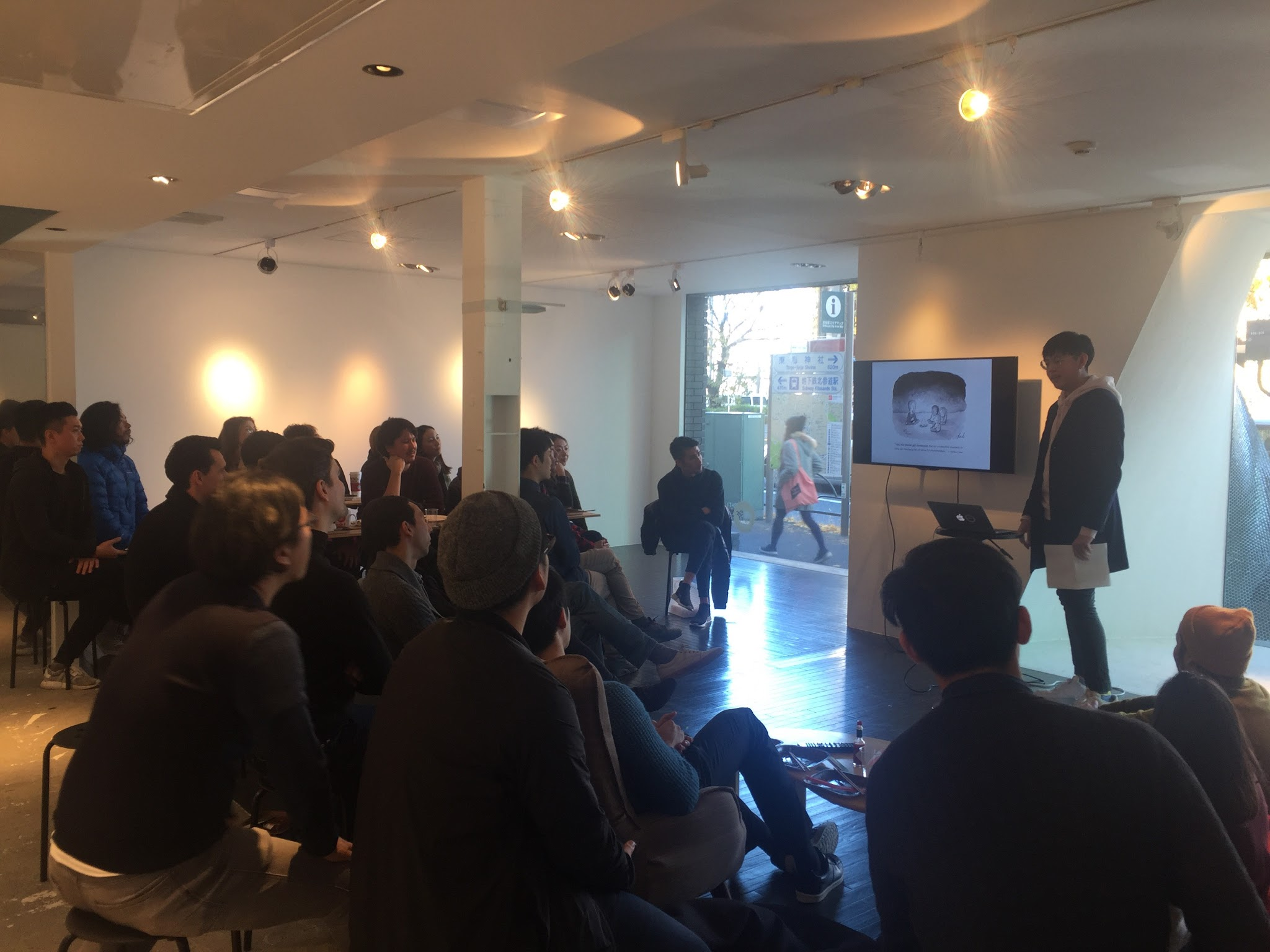 Myself presenting to Tokyo Creatives @UltraSuperNew Gallery
