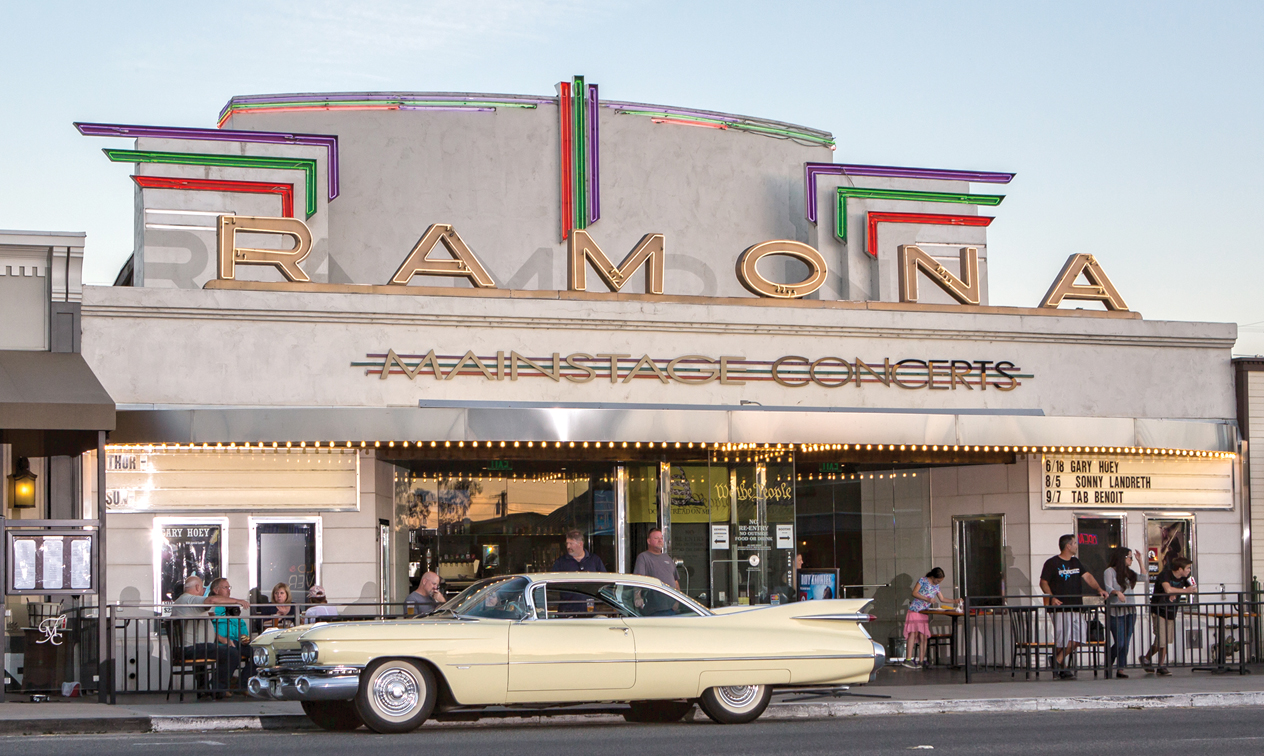Today, Ramona Mainstage is a favorite of local photographers, providing a backdrop for events such as Ramona American Graffiti Cruises on Thursday nights through the summer.   Photo by Barry Claessens, BC Photography