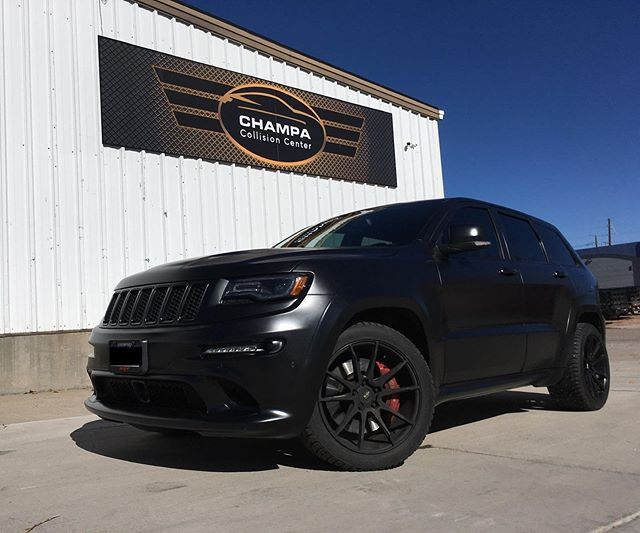 Another great looking custom paint job from our body shop. We're super excited about how awesome this matte black paint looks.  Collision or custom, Champa is here for all your auto body needs.  Check out some process images in our story.  #jeep #srt #jeepsrt #autorepair #collisionrepair  #autobody #customs #denvercolorado #denver #lodo #fivepoints #rinoartsdistrict