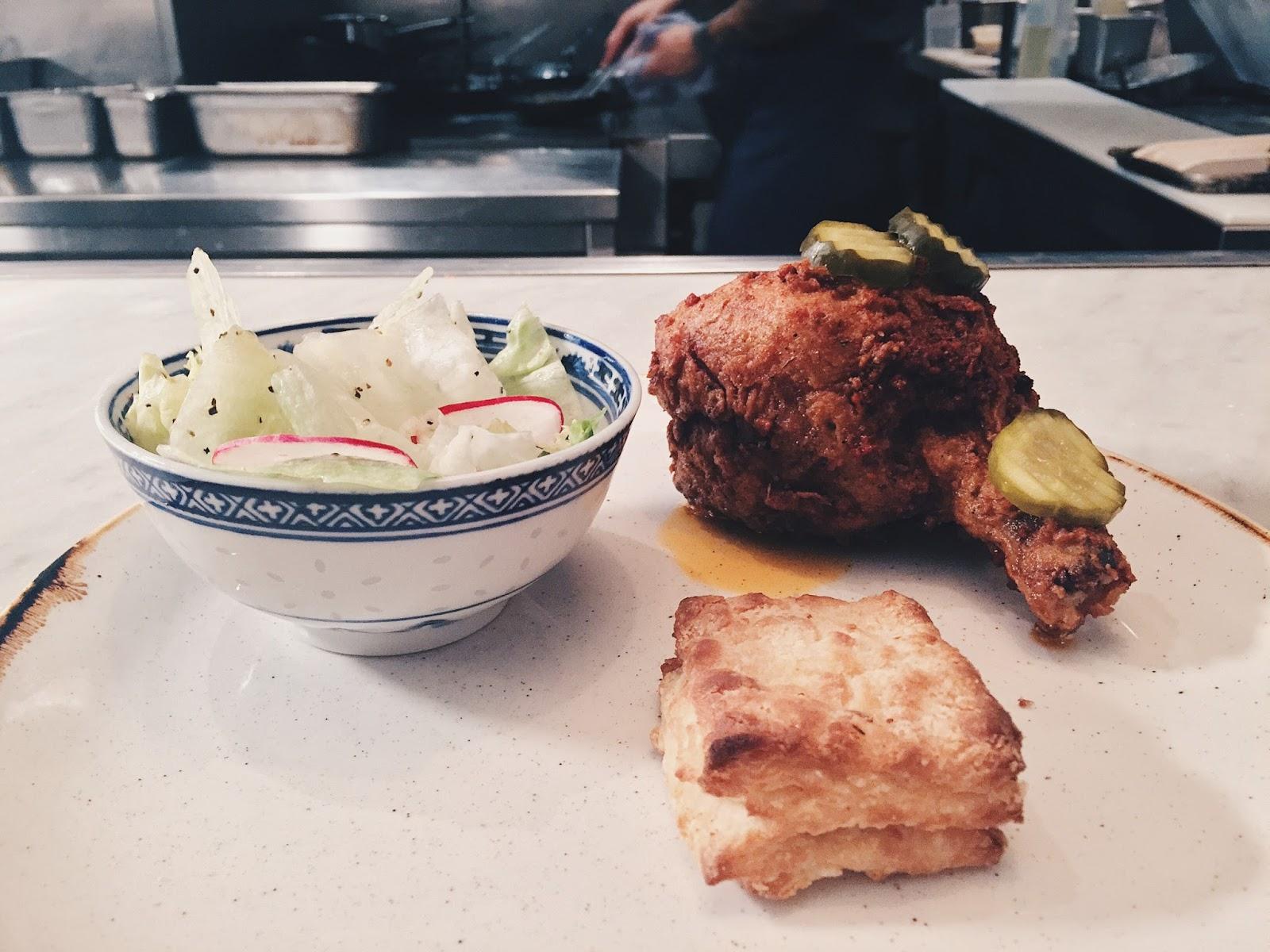 Model Milk Fried Chicken - Ryan's Biscuits, Chop Salad