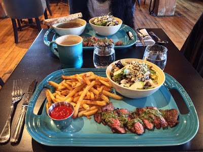 Ultra Dry Aged Steak  - chimichurri, beets salad, beef fat fries, feature soup