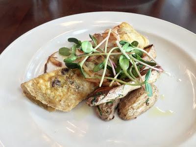 Omelette - cultivated mushrooms, roasted fingerling potatoes, crispy shallots