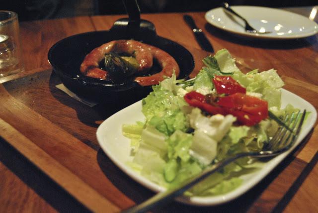 Skillet  Sausage - wine & cheese with jalapeño    Salad - herbed yogurt dressing, feta cheese, chilli pepper