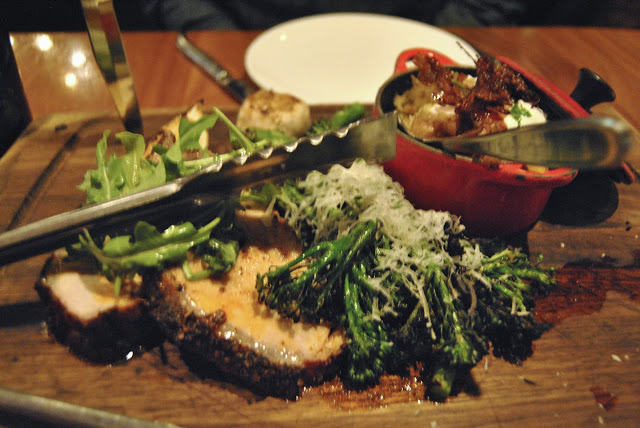 Pork  Loins - Chilli Rub, Broccolini with Parmesan, Mashed Potatoes with Pancetta and Sour Cream, Roasted Garlic