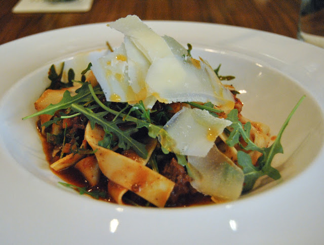 Beef Pappardelle  - Wagyu beef, peppered arugula, green peppers