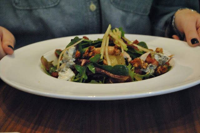 Warm Bacon Salad  - house made cured bacon, blue cheese, almonds, chicken breast